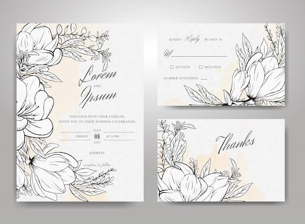 Schöne hochzeitseinladungs-kartenschablonenset mit handgezeichnetem blumen- und aquarell-spritzhintergrund