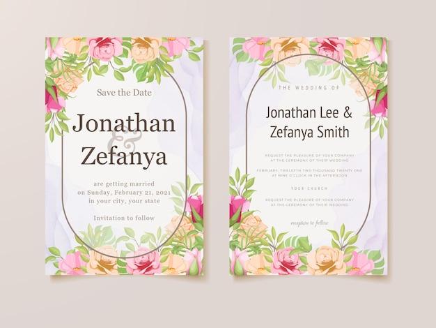 Schöne hochzeitseinladungskarte florales vorlagendesign Premium Vektoren