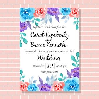 Schöne hochzeitseinladungskarte mit aquarellblume