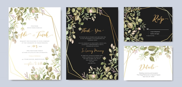 Schöne hochzeitseinladungskarte mit blumen- und blattschablone