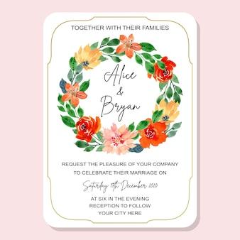 Schöne hochzeitseinladungskarte mit blumenkranz