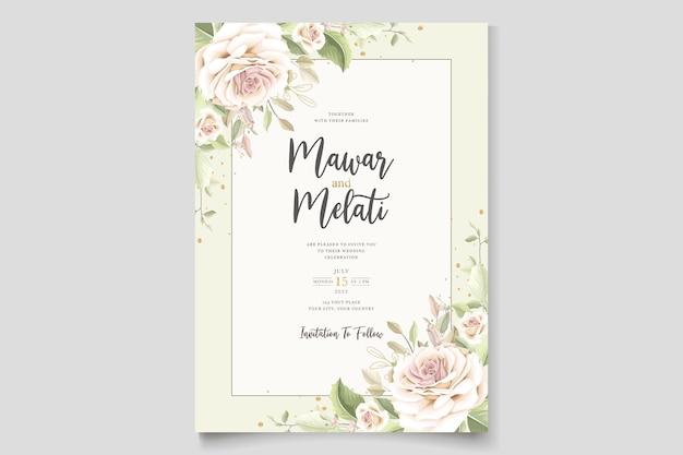 Schöne hochzeitseinladungskarte mit elegantem blumenset