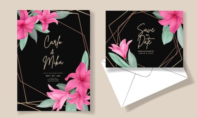 Schöne hochzeitseinladungskarte mit eleganter handgezeichneter lilienblume
