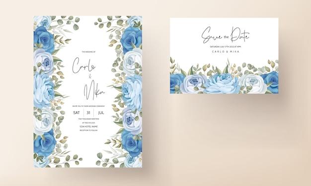 Schöne hochzeitseinladungskarte mit handgezeichneten blauen pfingstrosendekorationen