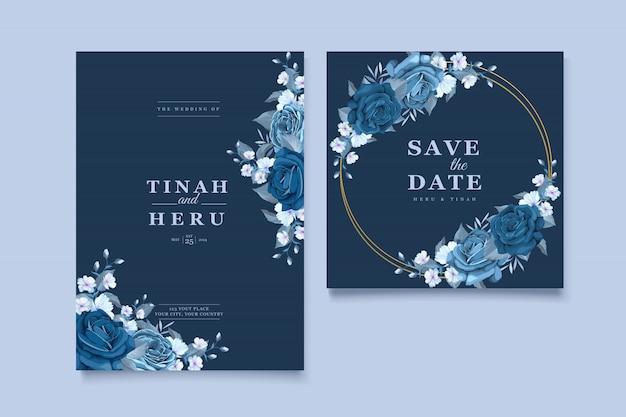 Schöne hochzeitseinladungskarte mit klassischem blauen blumenkranz