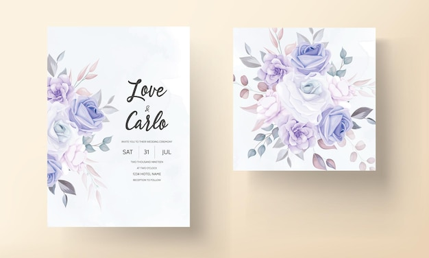 Schöne hochzeitseinladungskarte mit lila blumen