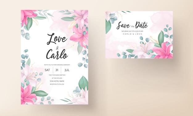 Schöne hochzeitseinladungskarte mit lilienblume Kostenlosen Vektoren