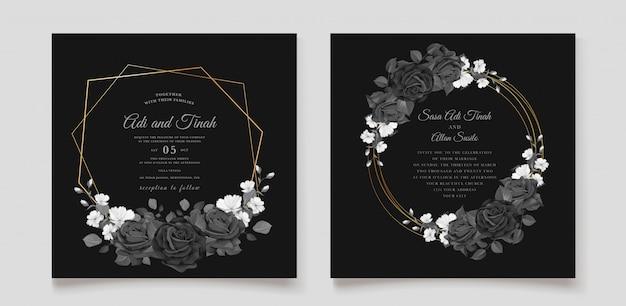 Schöne hochzeitseinladungskarte mit schwarzem blumenkranz