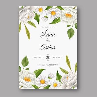 Schöne hochzeitseinladungskarte mit weißer blume des aquarells