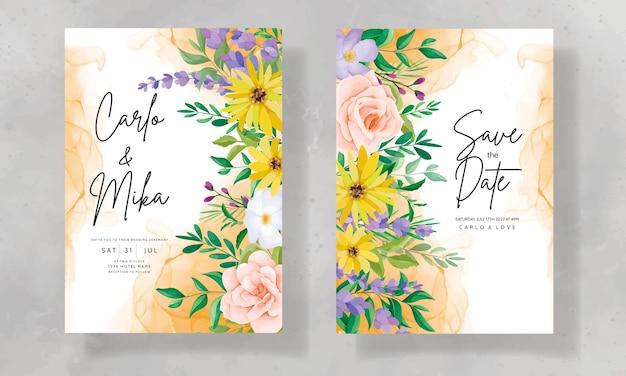 Schöne hochzeitseinladungskarte mit wilden blumen