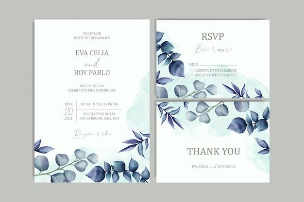 Schöne hochzeitseinladungskartenschablone gesetzt mit blumenrahmen