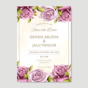 Schöne hochzeitseinladungskartenschablone mit aquarellgrün und -rosen