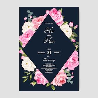 Schöne hochzeitseinladungskartenschablone mit blumenblättern