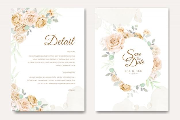 Schöne hochzeitseinladungskartenschablone mit den weißen und gelben rosen