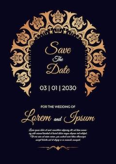 Schöne hochzeitseinladungskartenschablone mit mandala-design