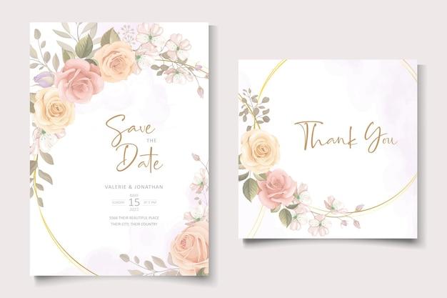 Schöne hochzeitseinladungskartenschablone mit rosen- und blattdekoration