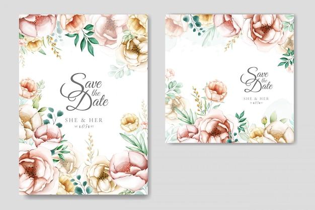 Schöne hochzeitseinladungskartenschablone stellte mit aquarellblumen ein