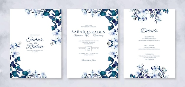 Schöne hochzeitseinladungsschablone mit aquarellblumen