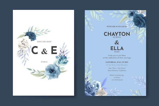 Schöne hochzeitseinladungsschablone mit blauen rosen