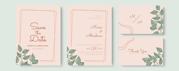 Schöne hochzeitseinladungsschablone mit handgezeichneten blumen und blättern in pastellfarben