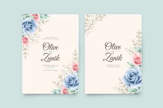 Schöne hochzeitseinladungsschablone mit rosenaquarell und goldblättern