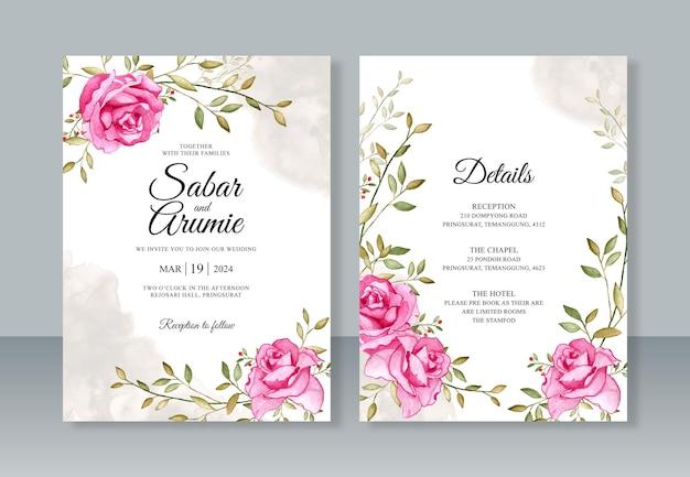 Schöne hochzeitseinladungsschablone mit rosenaquarellmalerei
