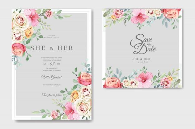 Schöne hochzeitskarte in der eleganten rosenschablone