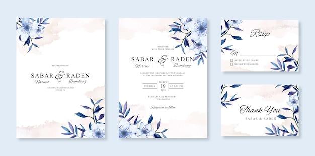 Schöne hochzeitskarteneinladung mit aquarellblumen