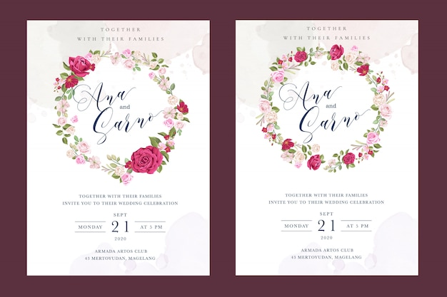 Schöne hochzeitskartenschablone mit bunten kastanienbraunen rosen