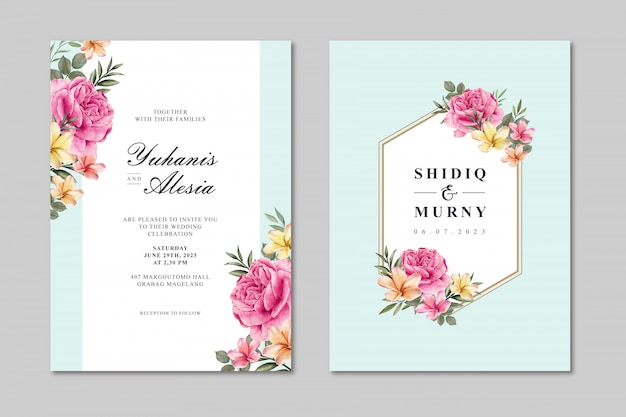 Schöne hochzeitskartenschablone mit bunter rosafarbener blume