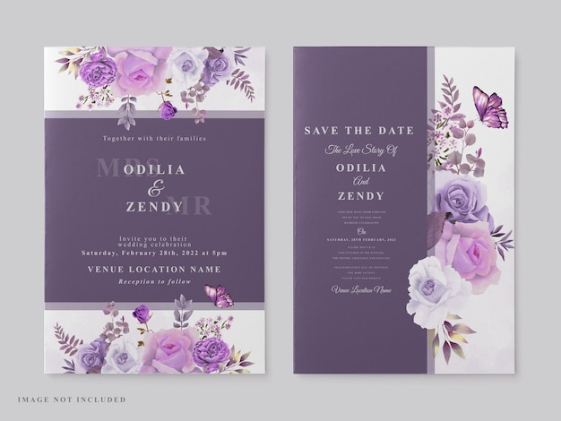 Schöne hochzeitskartenschablone mit lila blumenthema