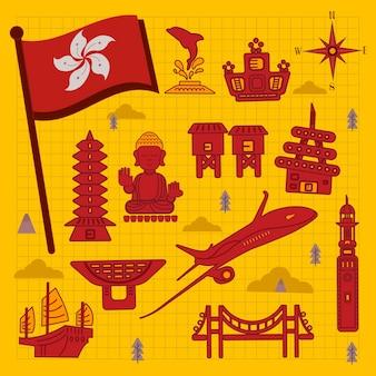 Schöne hongkong-reisekonzept-kollektionen im flachen stil