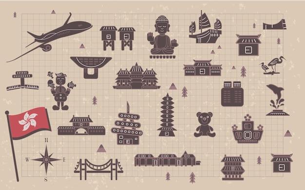 Schöne hongkong-reisesammlungen auf briefpapier
