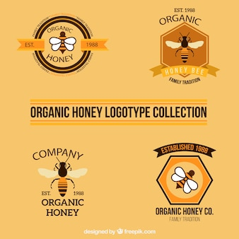 Schöne honig-logo-sammlung
