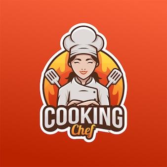Schöne hübsche kochfrau weibliche mutter logo maskottchen. küchenlogo