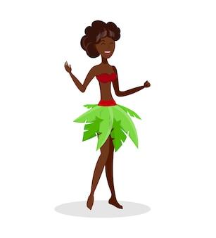 Schöne hula-tänzer-flache farbillustration