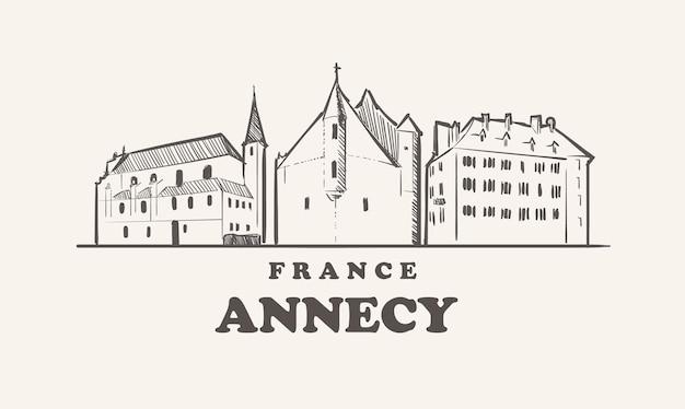 Schöne illustration der skyline von annecy