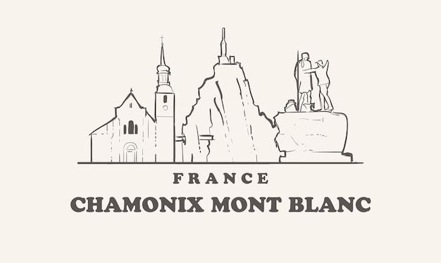 Schöne illustration der skyline von chamonix mont blanc