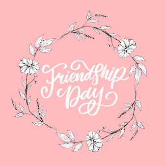 Schöne illustration des glücklichen freundschaftstags, verzierte grußkarte.