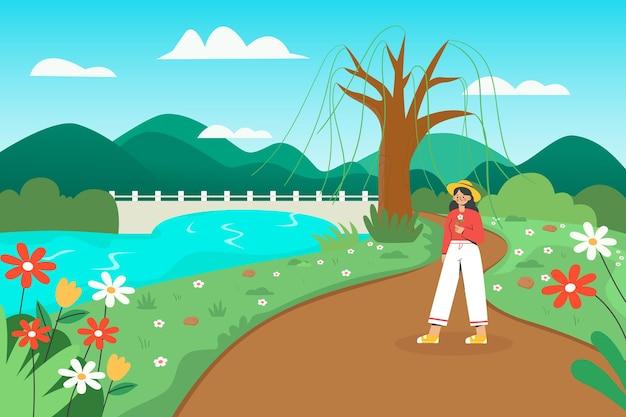 Schöne illustration des mädchens, das für einen ausflug im frühjahr geht
