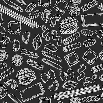 Schöne illustration des nahtlosen musters der italienischen pasta