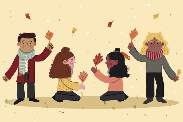 Schöne illustration von herbstkindern, die draußen spielen