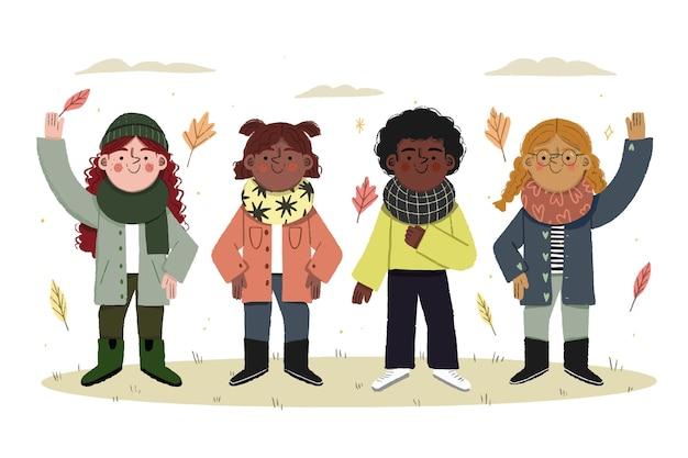 Schöne illustration von herbstkindern, die mäntel und schals tragen
