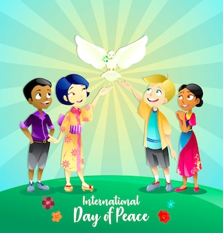 Schöne illustration von kindern für den tag des friedens