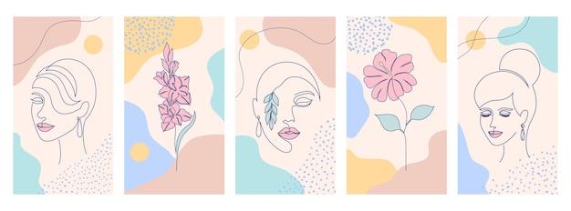 Schöne illustrationen mit einem strichzeichnungsstil und abstrakten formen.