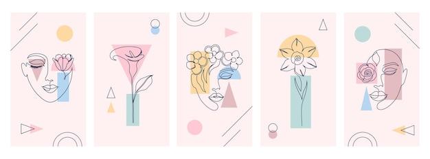 Schöne illustrationen mit einem strichzeichnungsstil und geometrischen formen.