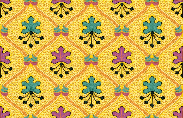 Schöne indonesische batik mit einer dominanten gelben farbe