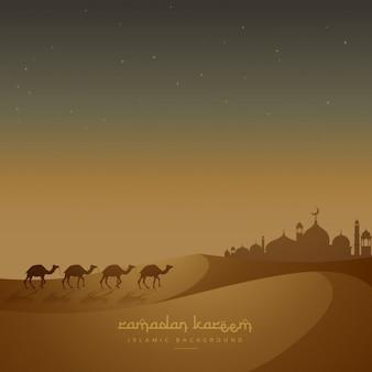 Schöne islamische hintergrund mit kamelen auf sand zu fuß