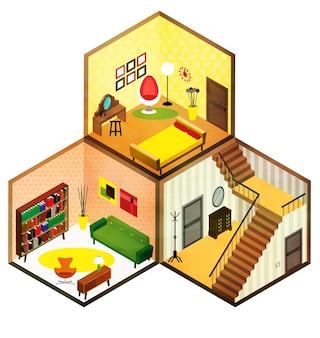 Schöne isometrische wohnzimmerikonenillustration