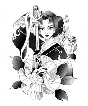 Schöne japanische geisha mit schwert in der hand
